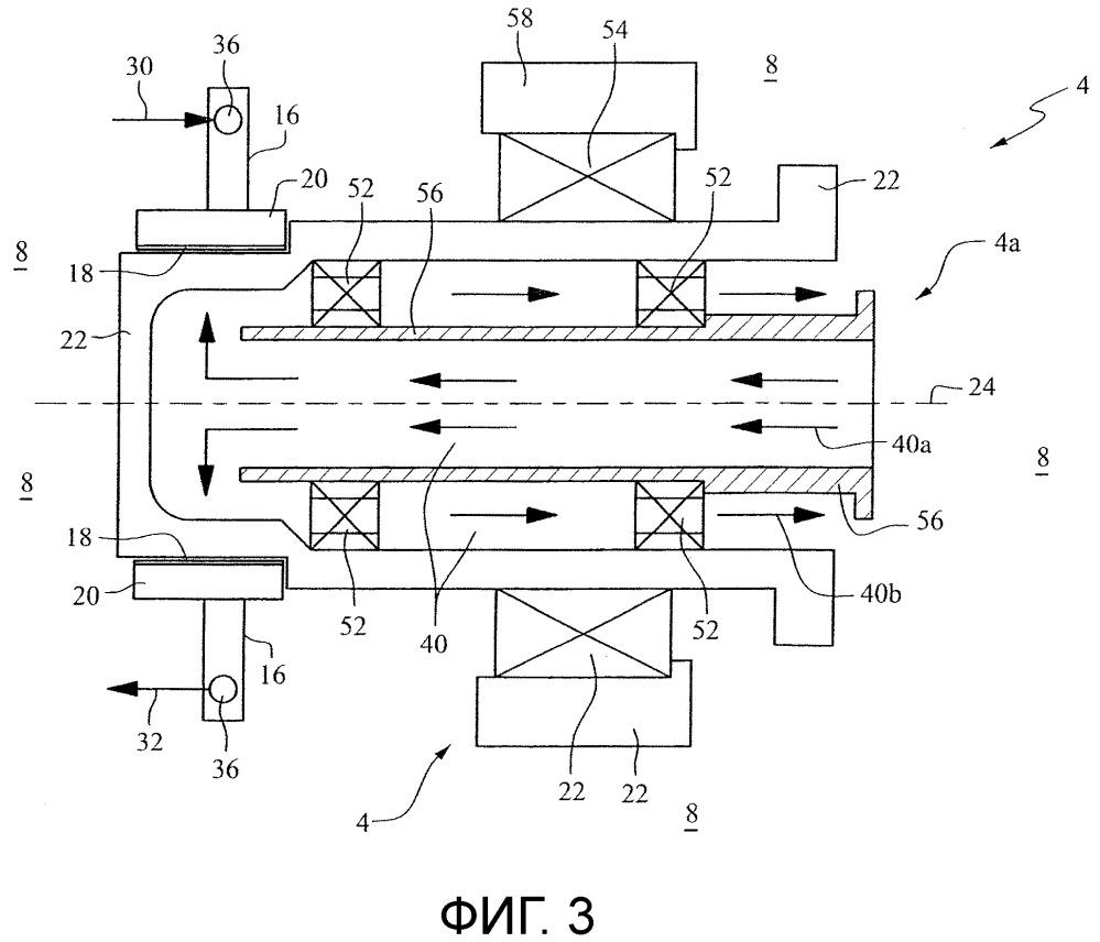 Концевой блок для вращающейся мишени с электрическим соединением между токосъемником и ротором при давлении меньше атмосферного давления