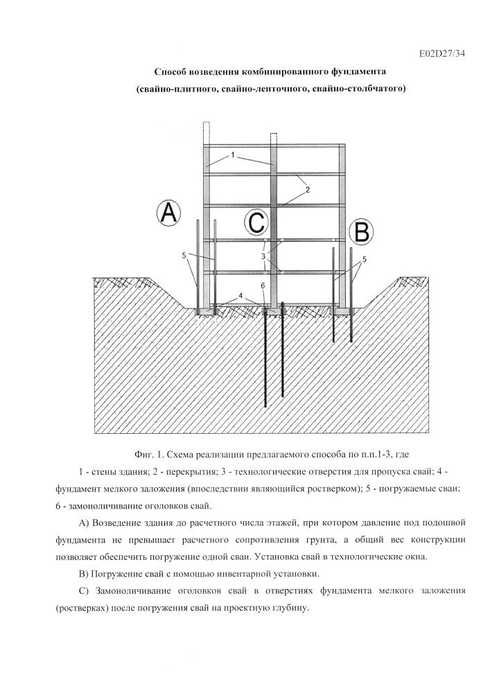 Способ возведения комбинированного фундамента (свайно-плитного, свайно-ленточного, свайно-столбчатого)