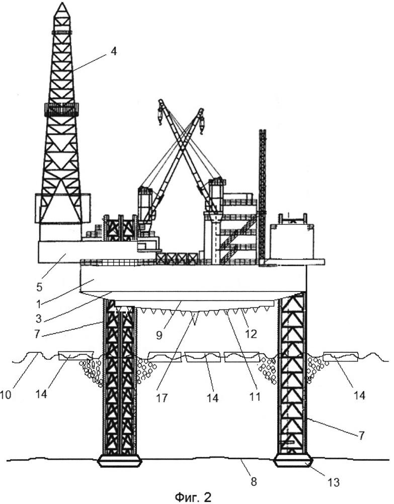 Самоподъемная морская буровая установка для эксплуатации на мелководных акваториях с сезонным ледовым покрытием