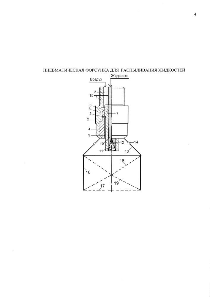Пневматическая форсунка для распыливания жидкостей
