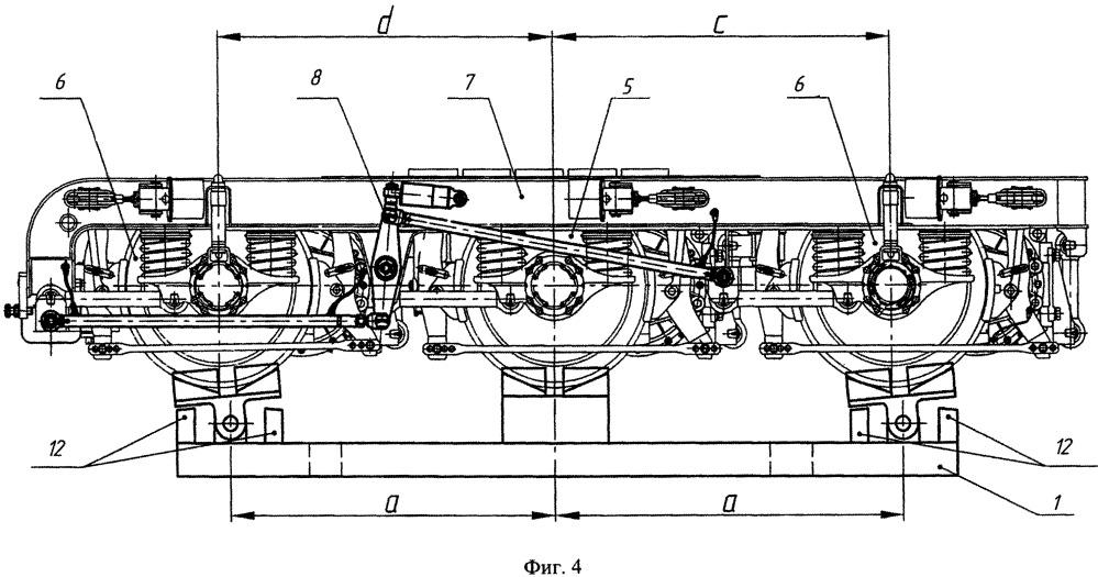 Устройство и способ установки положения колесных пар трехосной железнодорожной тележки с радиально устанавливающимися колесными парами