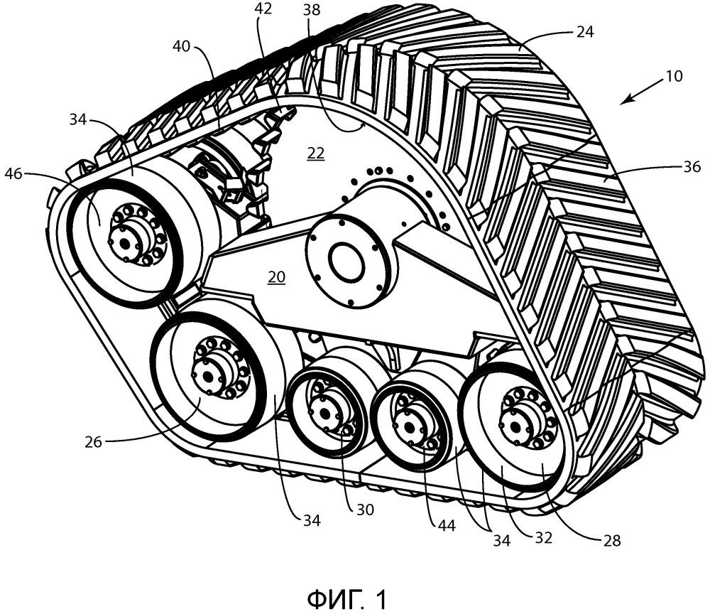Гусеничный узел транспортного средства, имеющий сужающиеся колеса