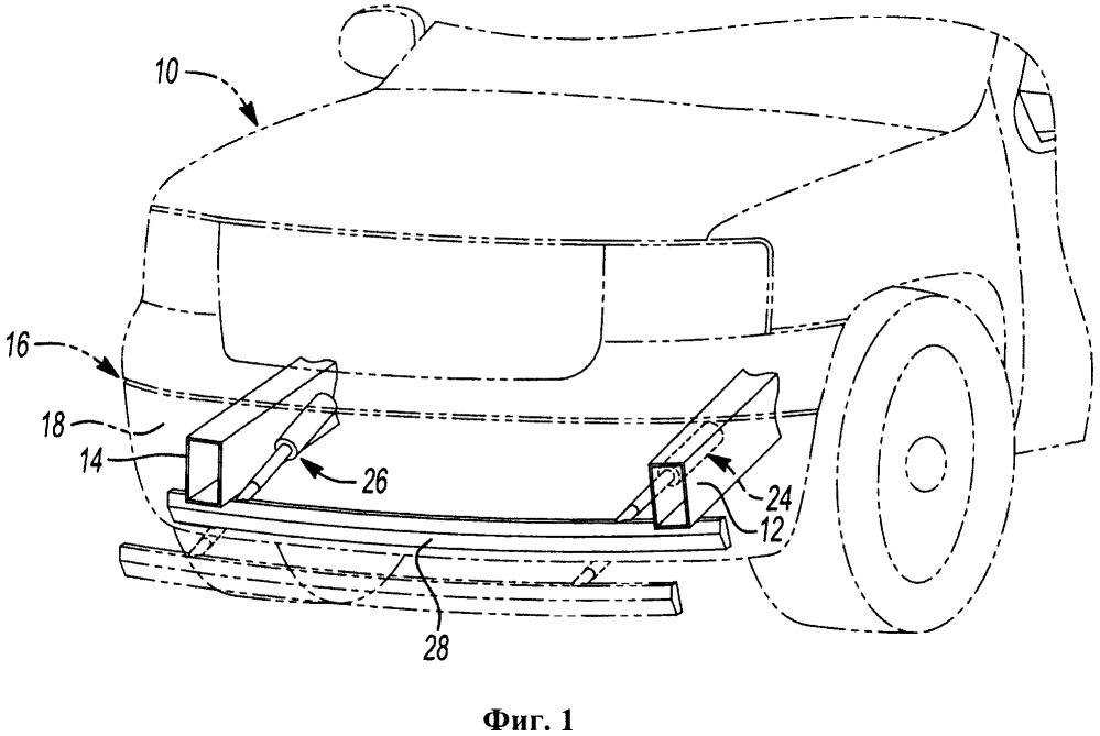 Выдвижной элемент жесткости переднего буфера транспортного средства для защиты пешехода