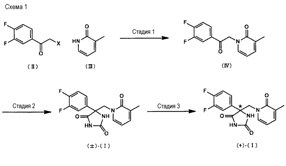 (+)-5-(3,4-дифторфенил)-5-[(3-метил-2-оксопиридин-1(2h)-ил)метил]имидазолидин-2,4-дион, а также лекарственное средство, включающее его в свой состав