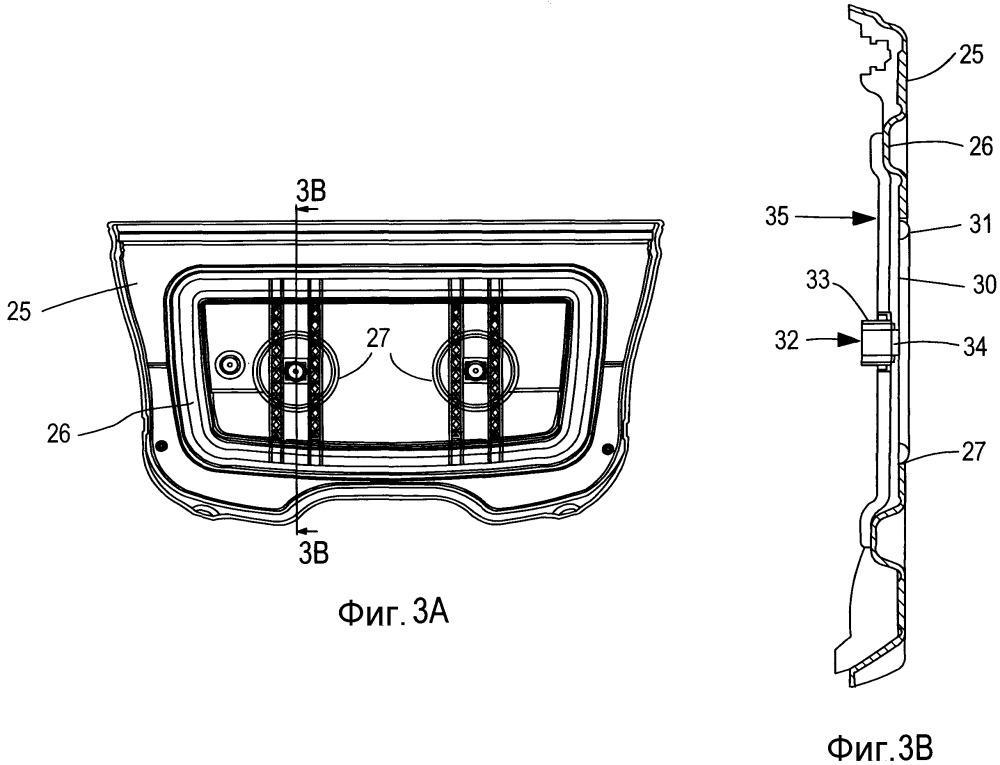 Облицовочный панельный узел для транспортного средства (варианты)
