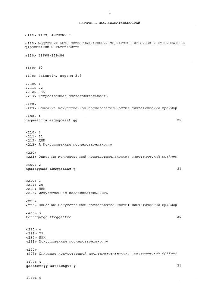 Модуляция hutc провоспалительных медиаторов легочных и пульмональных заболеваний и расстройств