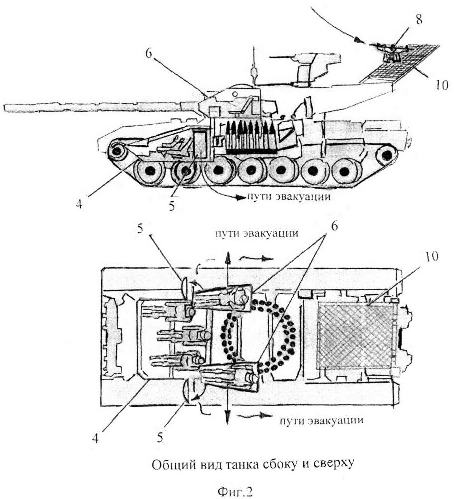 Высокозащищенный танк с комплексом управления боевыми наземными роботами и бла