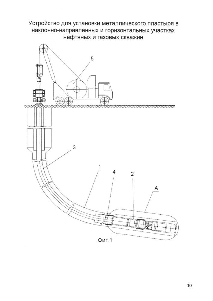 Устройство для установки металлического пластыря в наклонно-направленных и горизонтальных участках нефтяных и газовых скважин