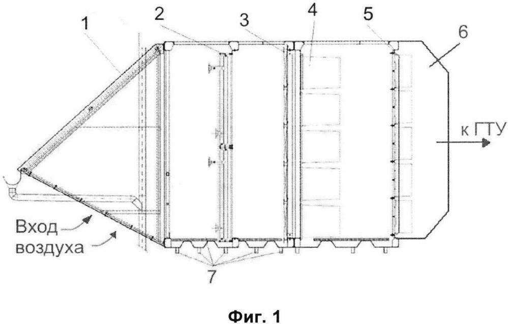 Схема системы фильтрации циклового воздуха в комплексном воздухоочистительном устройстве газотурбинной установки (варианты)