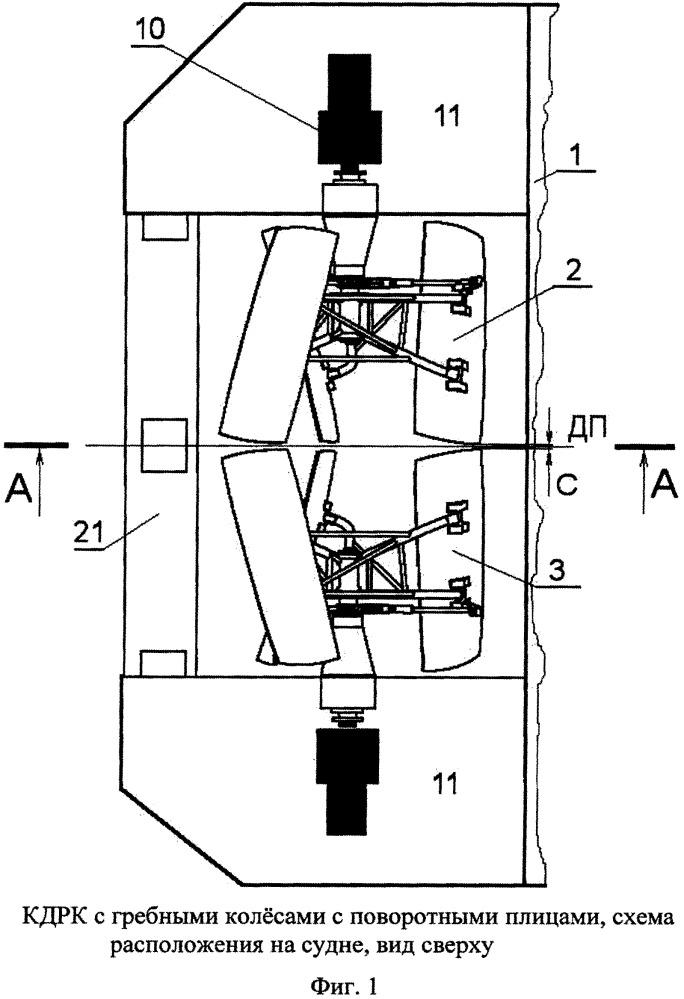 Колёсный движительно-рулевой комплекс с поворотными плицами