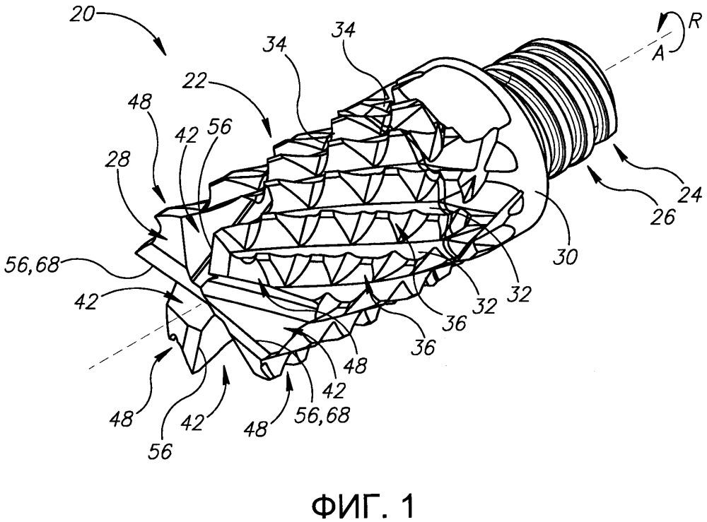 Вращательный режущий инструмент с предварительно заданным числом левосторонних и правосторонних спиральных канавок и торцевых режущих зубьев