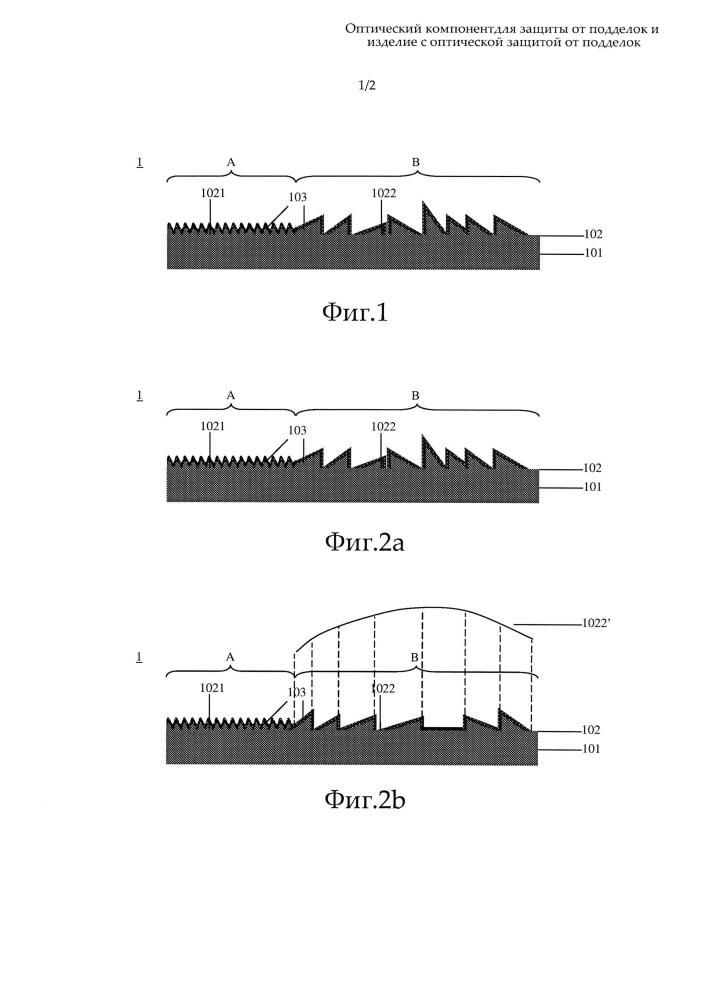 Оптический компонент для защиты от подделок и изделие с оптической защитой от подделок
