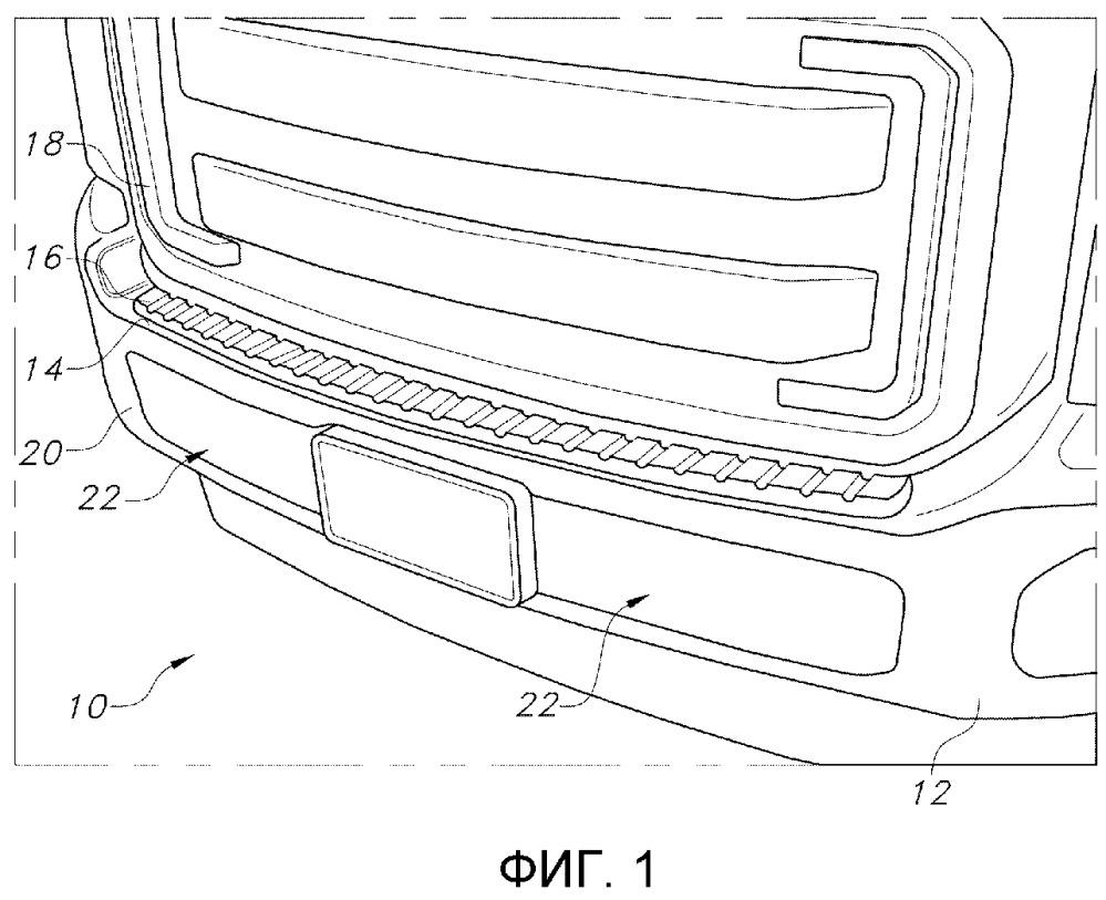 Ступенька переднего бампера, узел переднего бампера и решетки, накладка ступеньки переднего бампера и транспортное средство (варианты)
