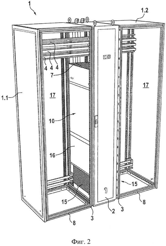 Сборка из электрических шкафов, содержащая линию электрических шкафов и охлаждающее устройство, подключенное к линии
