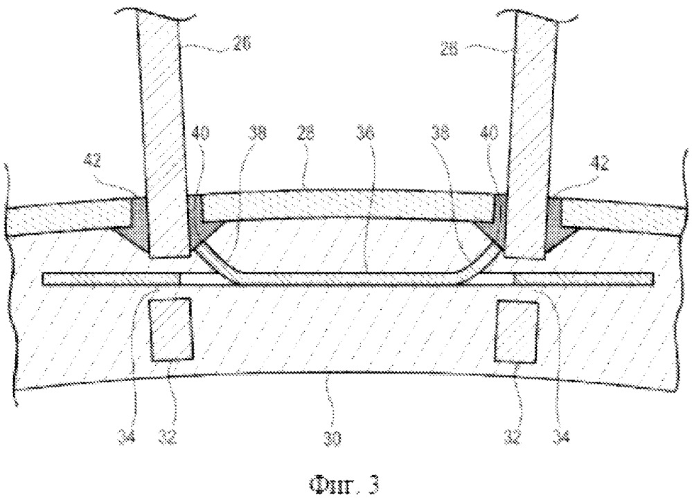 Пластинчатый фиксатор крепления лопаток, содержащий внутренние вырезы, для статора турбомашины