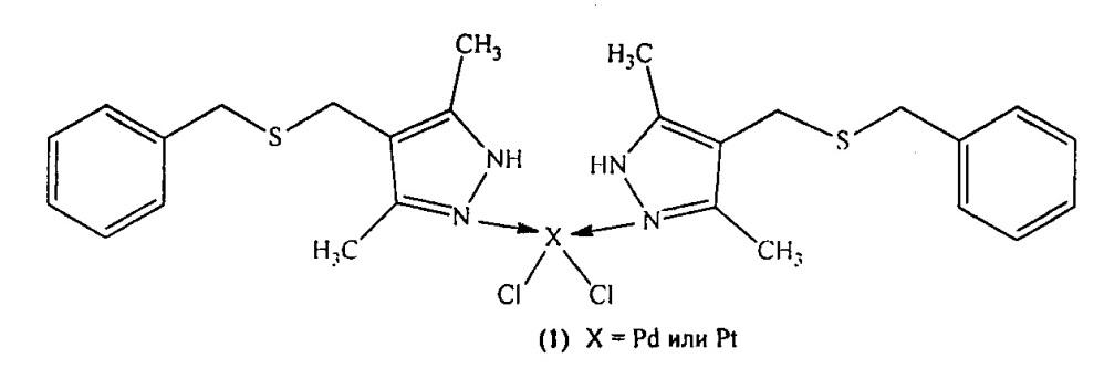 Способ получения n-комплексов дихлорди-[(4-(бензилсульфанил)метил)-3,5-диметил-1н-пиразол]палладия(ii) и платины(ii)