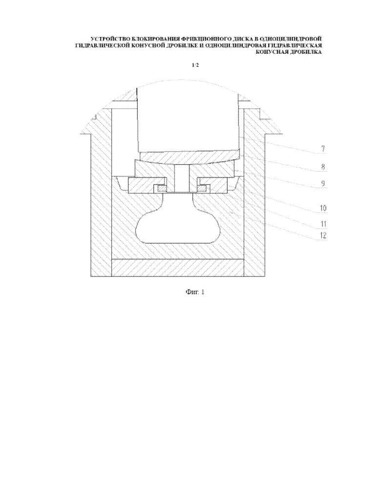Устройство блокирования фрикционного диска в одноцилиндровой гидравлической конусной дробилке и одноцилиндровая гидравлическая конусная дробилка