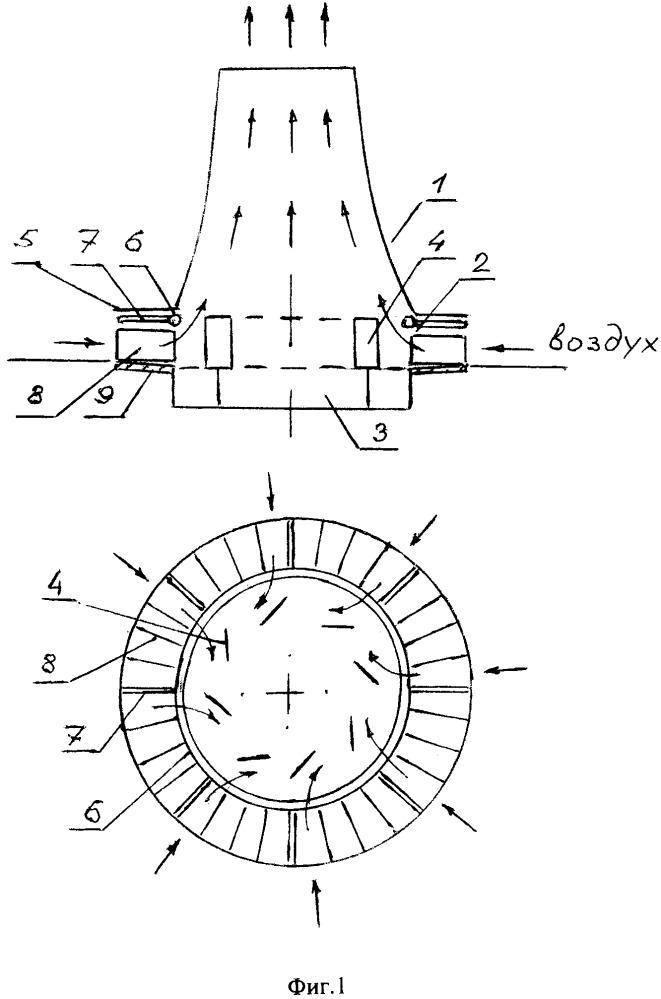 Башенная испарительная градирня с разнесенными областями теплообмена и аэродинамики