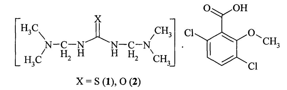 Соли 1,3-бис((диметиламино)метил)тиомочевины и 1,3-бис((диметиламино)метил)мочевины с 2-метокси-3,6-дихлоробензоатом, проявляющие гербицидную активность