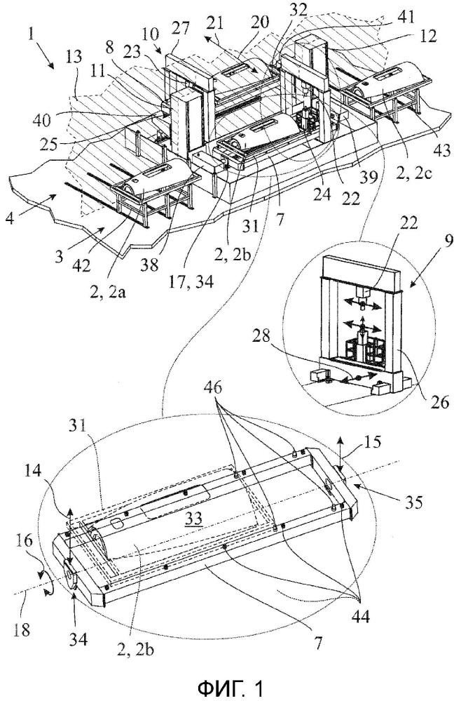 Установка для обработки структурных элементов самолета