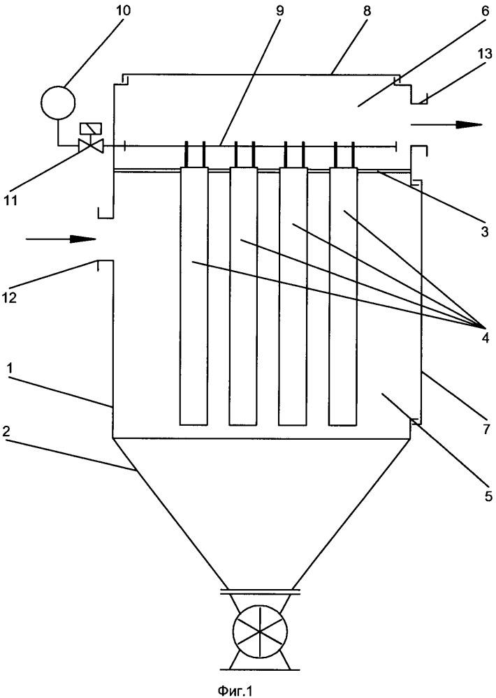 Фильтрующее устройство для очистки газов и устройство для крепления фильтровальных элементов в фильтрующем устройстве для очистки газов