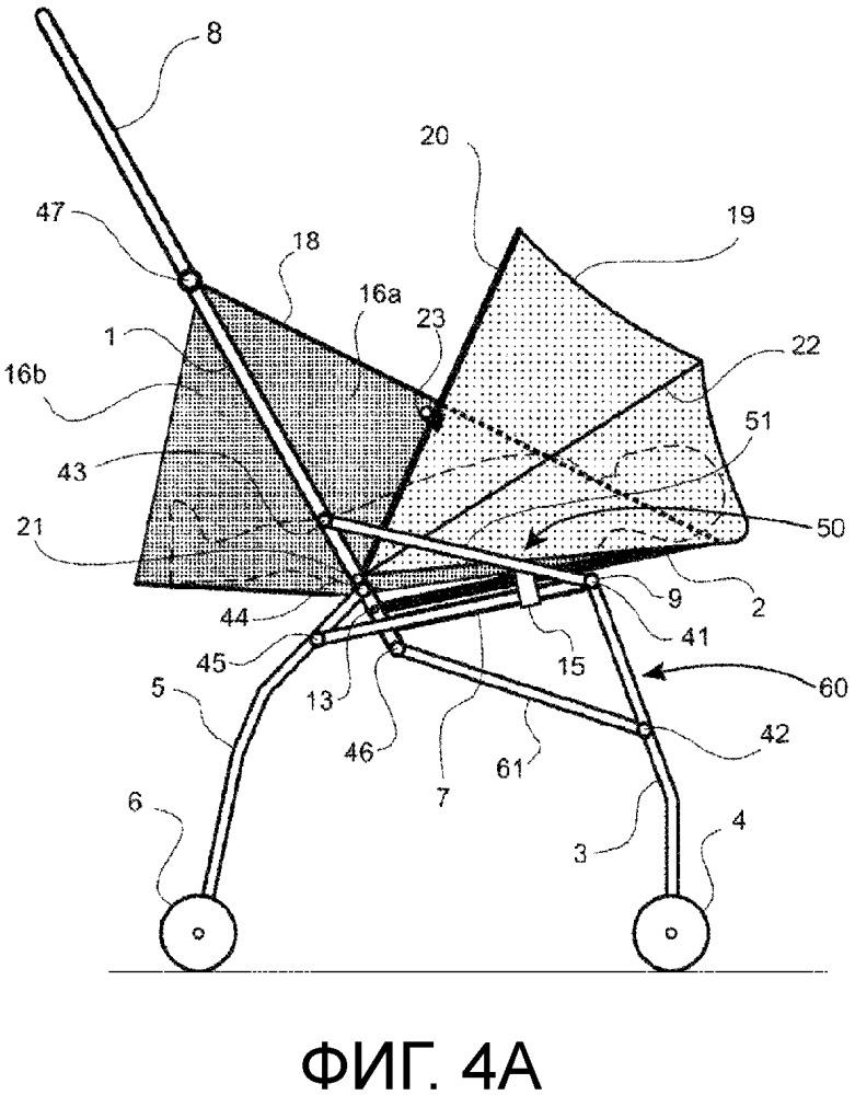 Складная коляска, адаптируемая для перевозки новорожденных