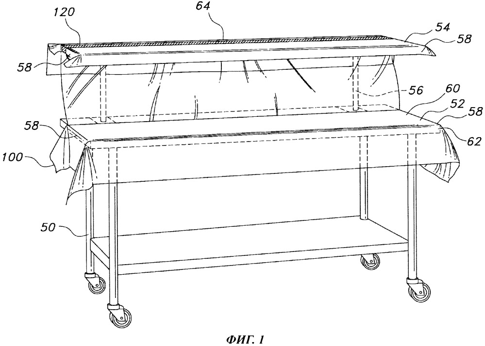 Стерильная простыня для двухъярусного больничного инструментального стола