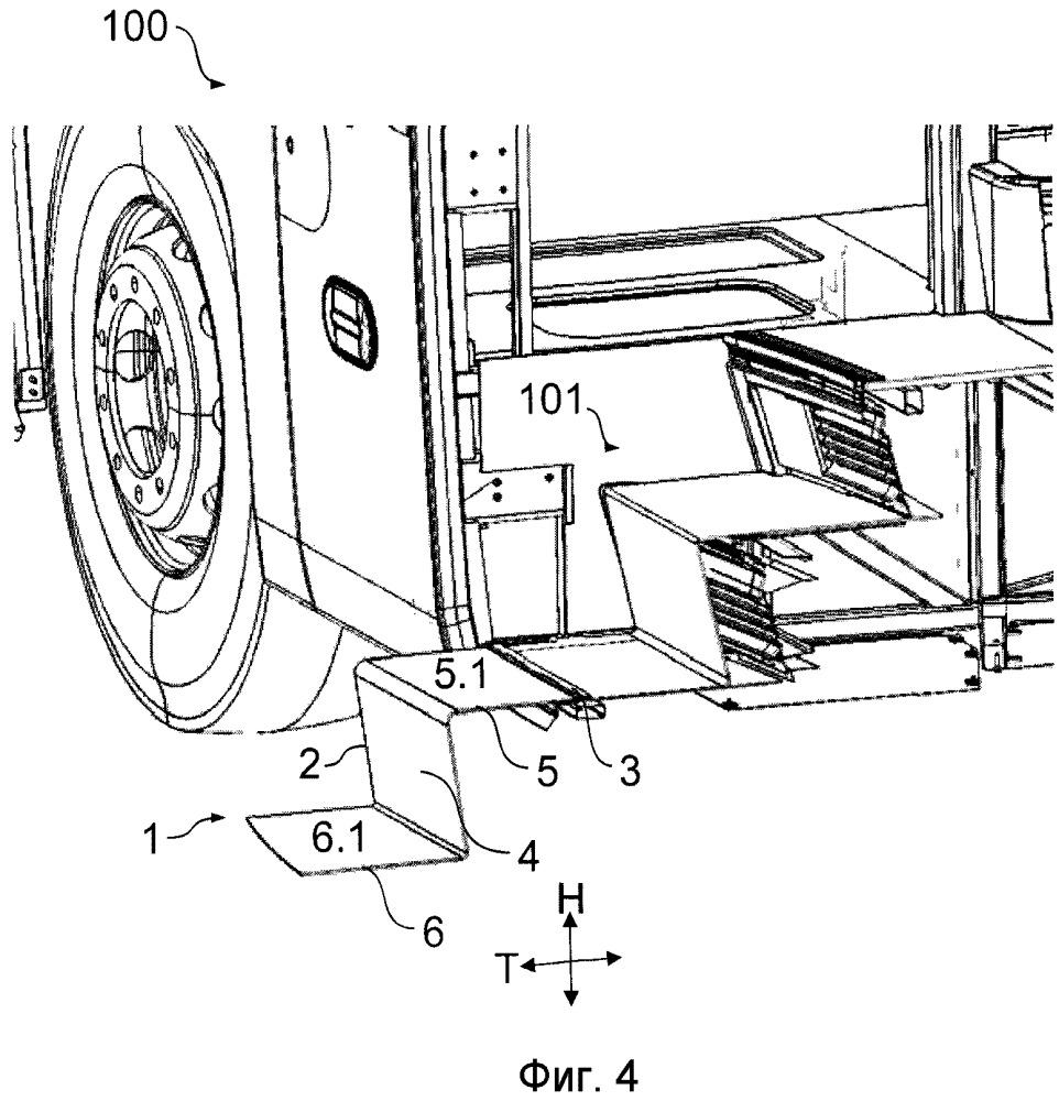 Конструкция откидной лесенки для транспортного средства, содержащего входную лесенку