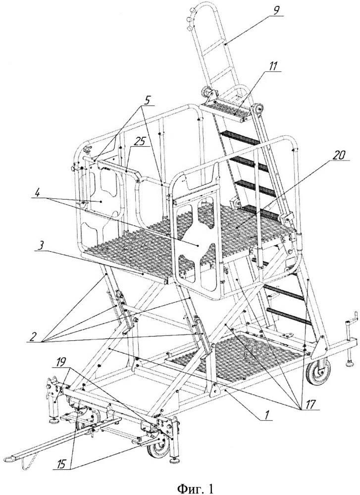 Платформенная стремянка с телескопической лестницей для технического обслуживания летательных аппаратов