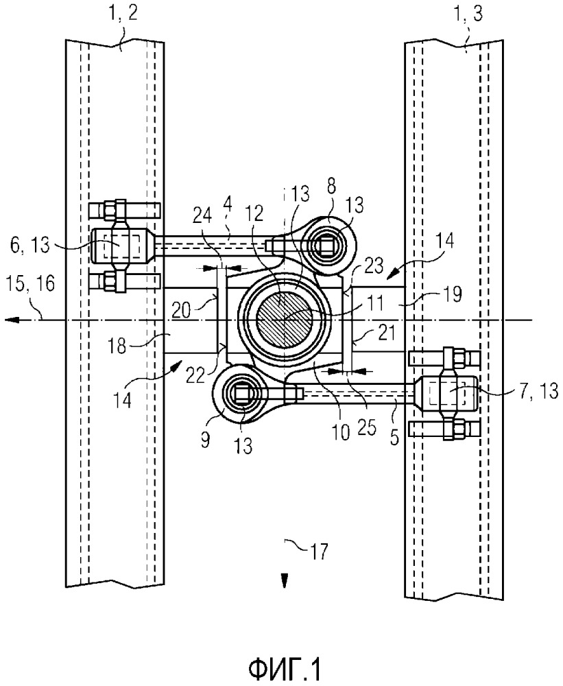 Устройство для передачи усилий между рамой ходовой части и кузовом вагона рельсового транспортного средства