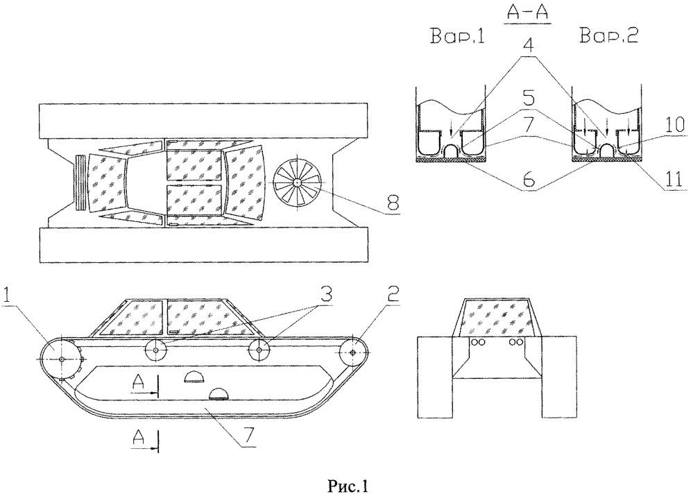Движитель повышенной проходимости на пневмогусенице на воздушной подушке
