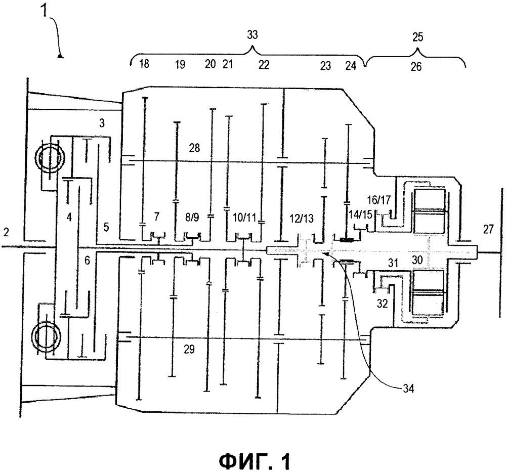 Коробка передач с двухдисковым сцеплением, в частности, для транспортных средств промышленного назначения