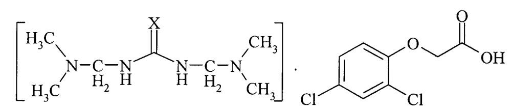 Соли 1,3-бис((диметиламино)метил)тиомочевины и 1,3-бис((диметиламино)метил)мочевины с 2,4-дихлорофеноксиацетатом, проявляющие гербицидную активность