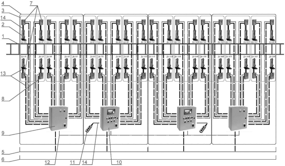 Система домкратных установок для подъема подвижного состава железнодорожного транспорта