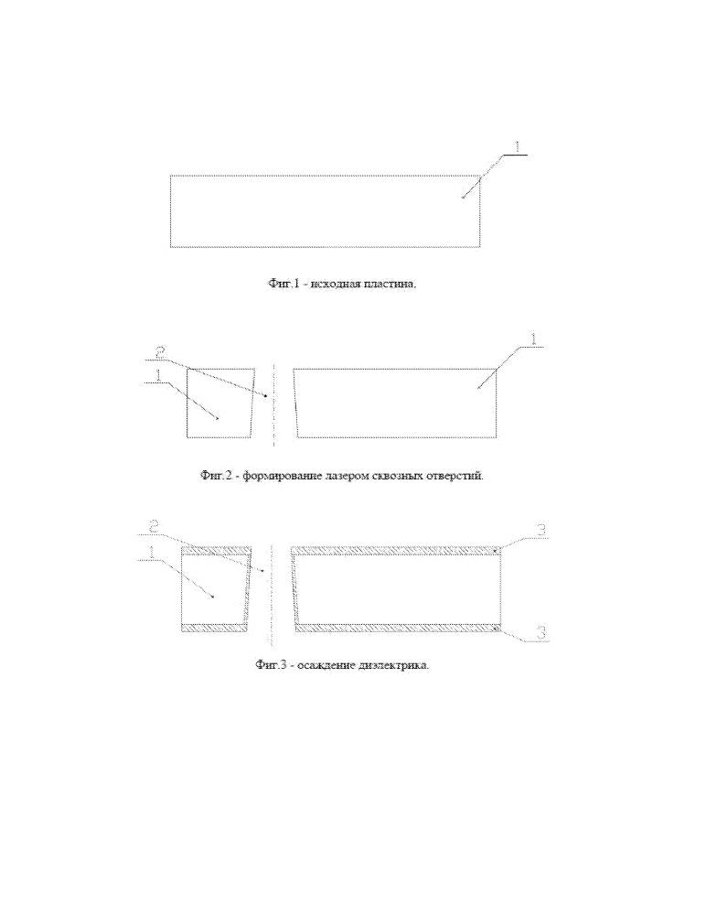 Способ формирования плат микроструктурных устройств со сквозными металлизированными отверстиями на монокристаллических кремниевых подложках