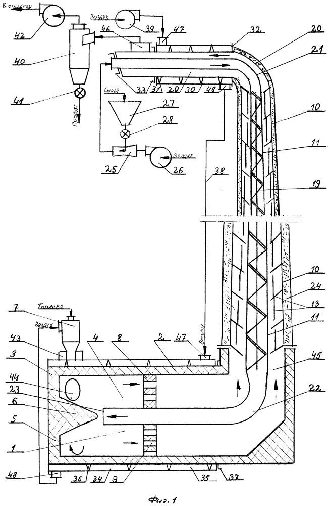 Пневмотрубная установка для термической обработки мелкозернистого материала
