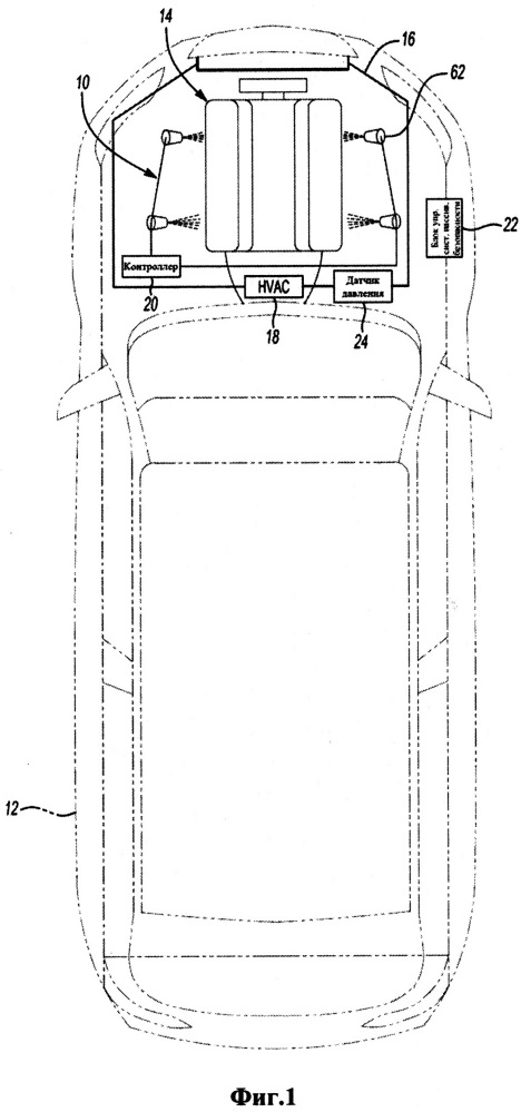 Система пожаротушения для системы обогрева, вентиляции и кондиционирования транспортного средства
