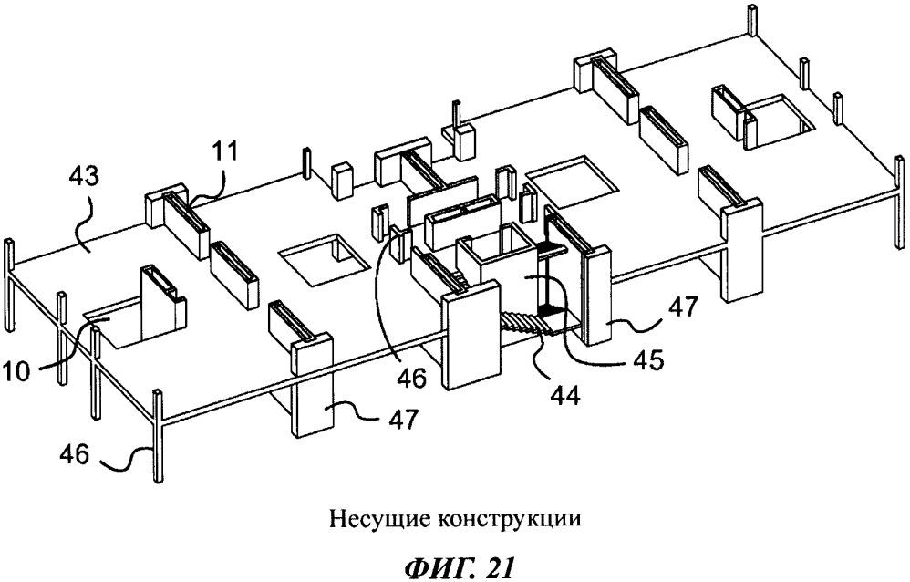 Концептуальное здание, вертикальный канальный элемент и способ адаптивной компоновки пространств внутри здания