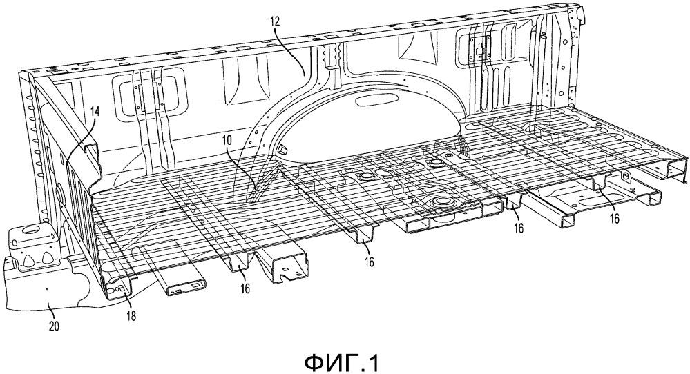 Конструкция переднего обвязочного бруса, пола и головного борта грузового кузова грузового автомобиля на шасси легкового автомобиля