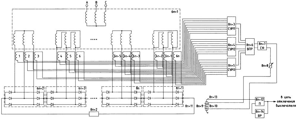 Устройство защиты преобразовательной установки с трансформатором с 2n вторичными обмотками и 2n выпрямителями