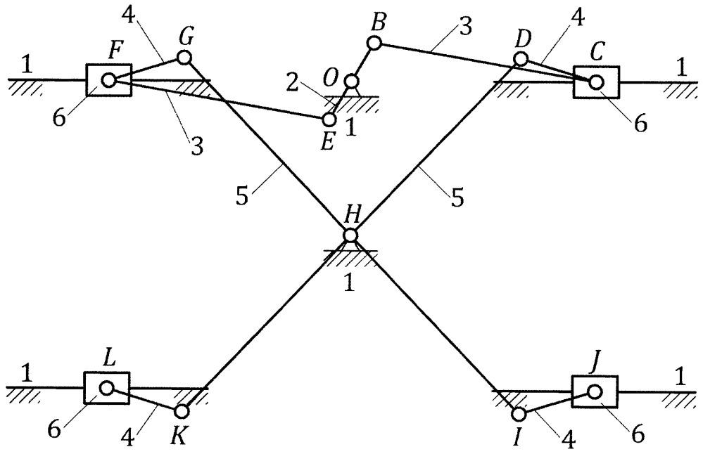 Распределительный механизм с четырьмя выходными звеньями