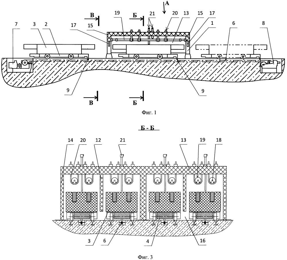 Установка для нагрева подовых блоков алюминиевых электролизеров