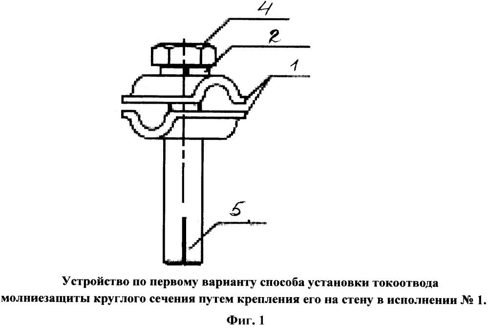 Способ крепления токоотвода молниезащиты круглого сечения к стене здания из кирпича или бетона (в том числе через утеплитель) и его варианты, устройство для такого крепления и оснастка для крепления
