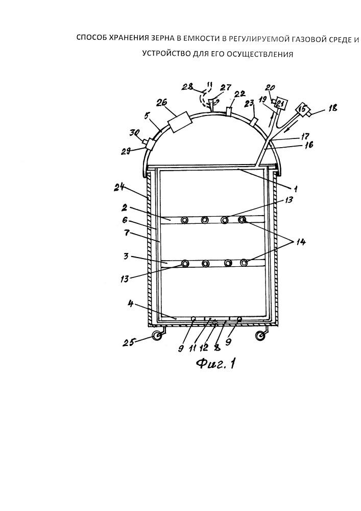 Способ хранения зерна в емкости в регулируемой газовой среде и устройство для его осуществления