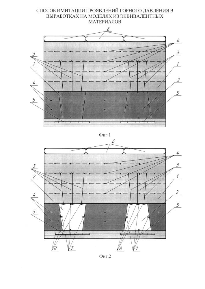 Способ имитации проявлений горного давления в выработках на моделях из эквивалентных материалов