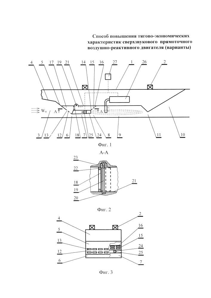 Способ повышения тягово-экономических характеристик сверхзвукового прямоточного воздушно-реактивного двигателя (варианты)