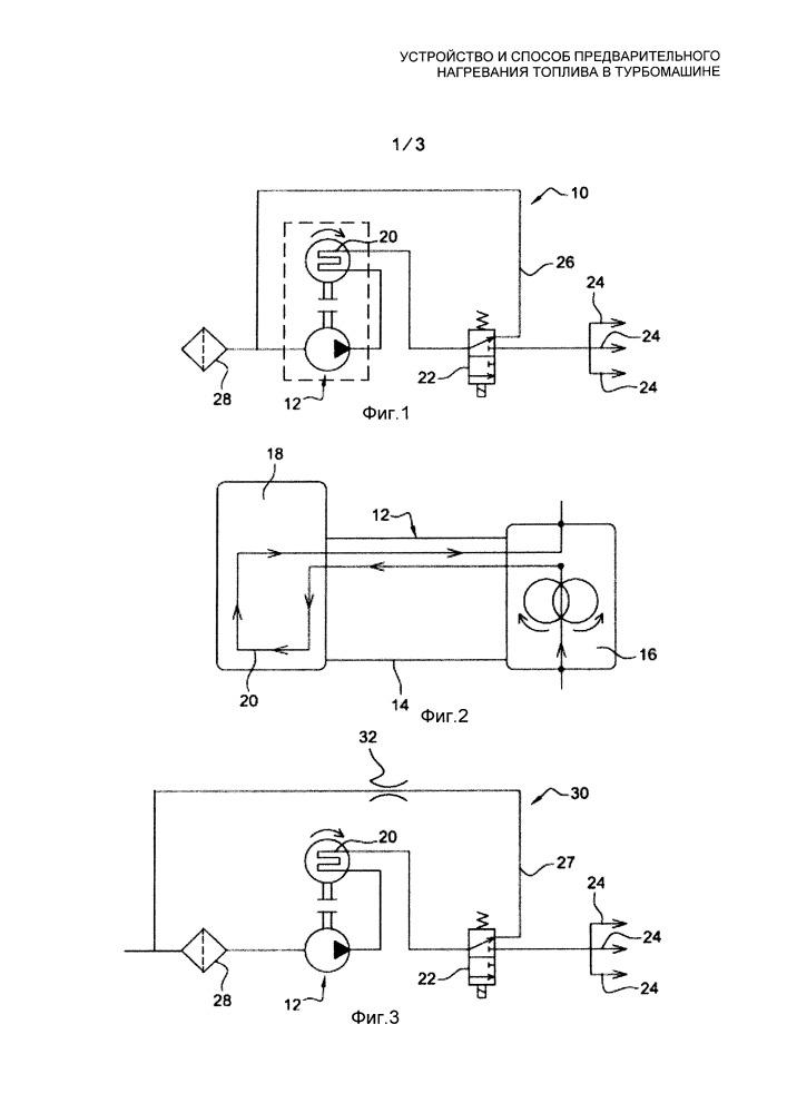 Устройство и способ предварительного нагревания топлива в турбомашине