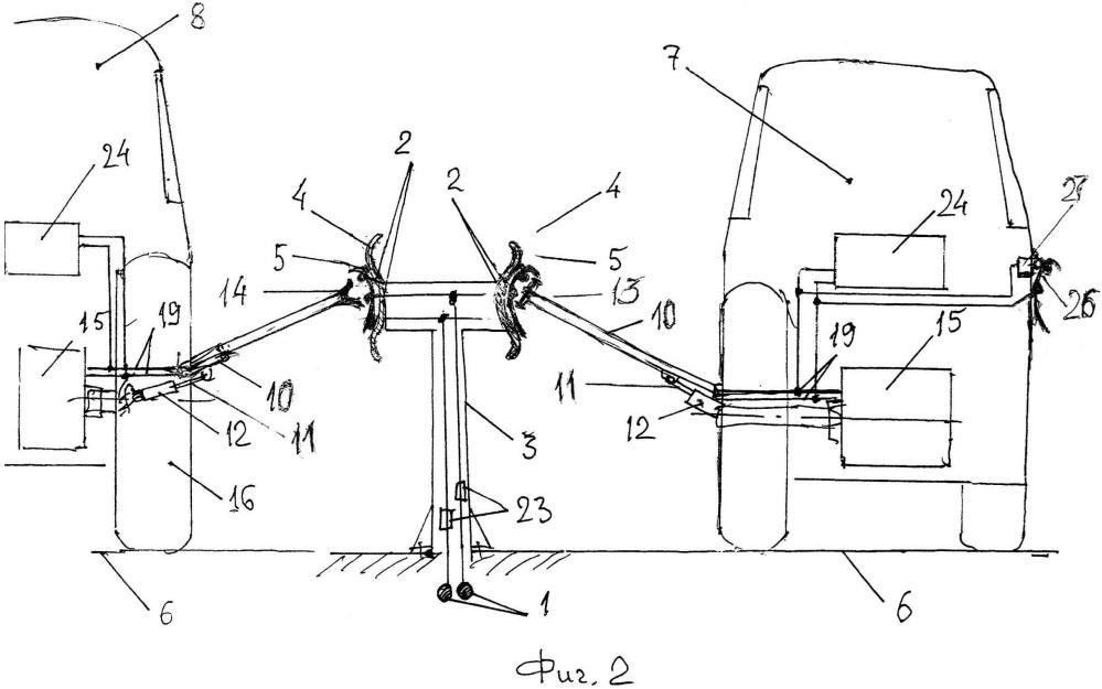 Способ и устройство передачи электрической энергии при движении безрельсовому электро- и гибридному транспорту