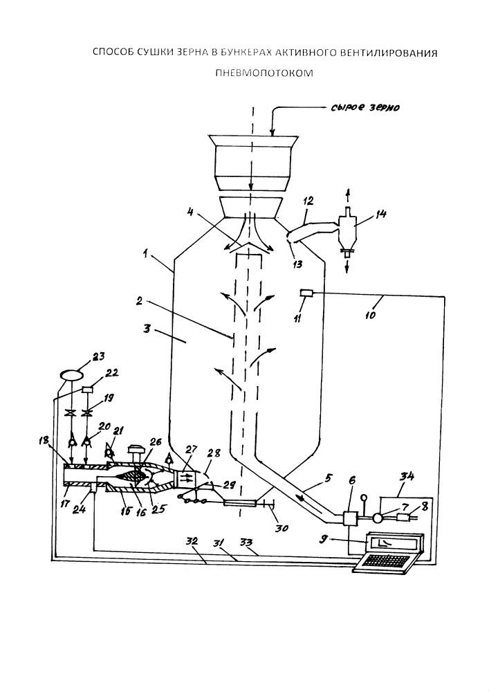 Способ сушки зерна в бункерах активного вентилирования пневмопотоком