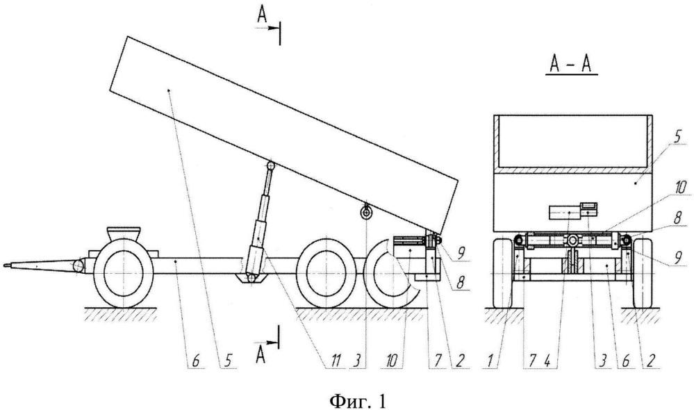 Устройство для поперечной стабилизации кузова самосвального транспортного средства при задней разгрузке